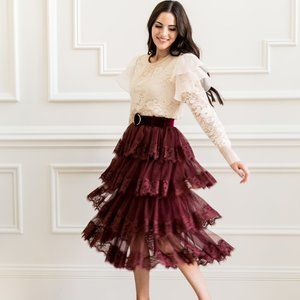 Rachel Parcell lace trim tiered skirt Large *flaw